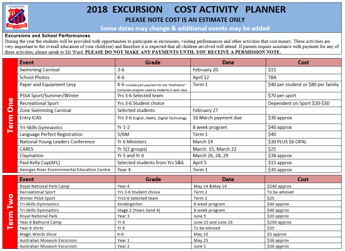 2018 excursion cost activity planner holsworthy public school